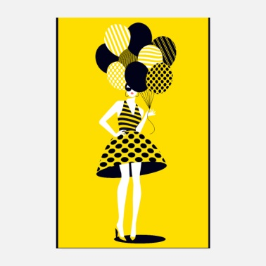 Graphic Art Pop-art, Lady with ballons - Poster 20x30 cm