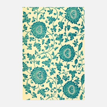 Turquoise Turquoise flowers drawing pattern - Poster