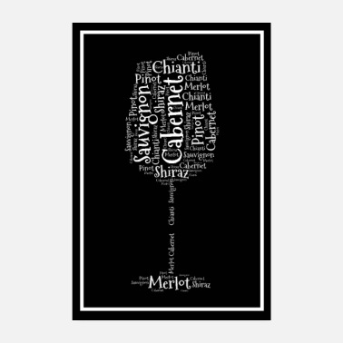 Wine Weinglass Poster Word Cloud - Poster