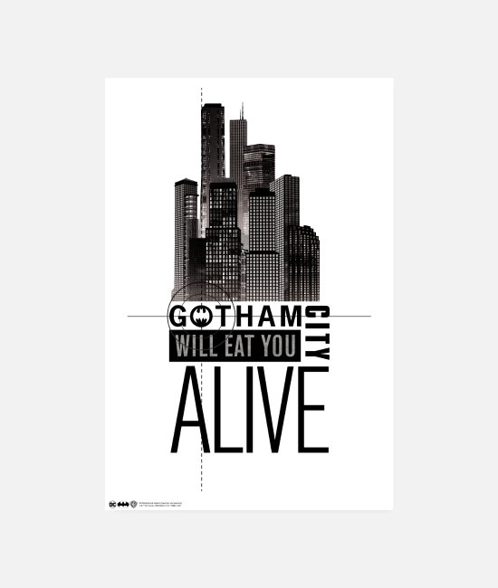 Official License Julisteet - Batman Gotham City Will Eat You Alive - Julisteet valkoinen