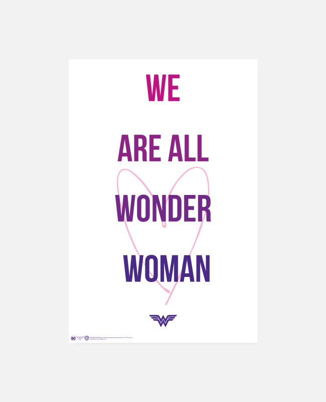 Typografie Poster - Wonder Woman We Are All Wonder Woman - Poster Weiß