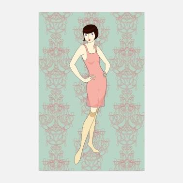 ce417f8c483c46 Waschen Weinlese-Prallplattenfrau in der Wäsche - Poster