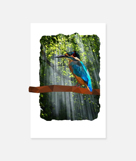 Headphones Posters - Low poly Kingfisher in the woods with headphones - Posters white