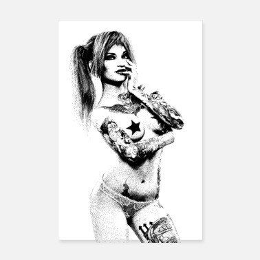 Bombshell PINUP ARTISTIC BLACK WHITE TATTOOED WOMAN - Poster