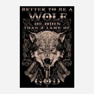 Wolf Wolf of Odin with Viking axes - Poster