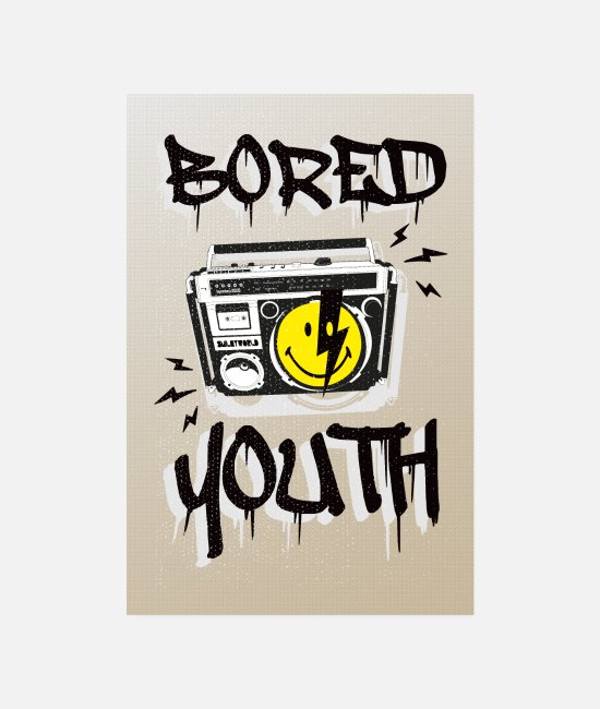 Urban Posters - SmileyWorld Bored Youth - Posters white