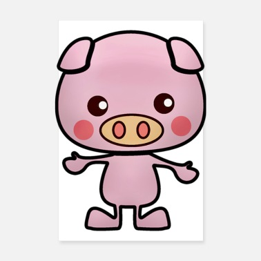 Swine Flu Cartoon pig - Poster