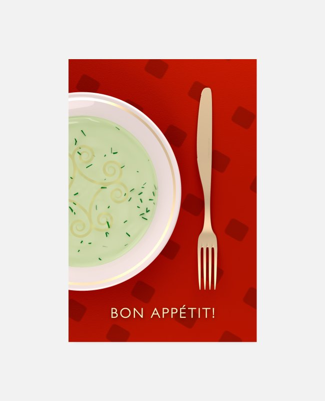 Soup Posters - Bon Appétit fork knife plate - Posters white