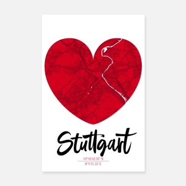 Map Stuttgart - City Map Map Map (Heart) - Poster