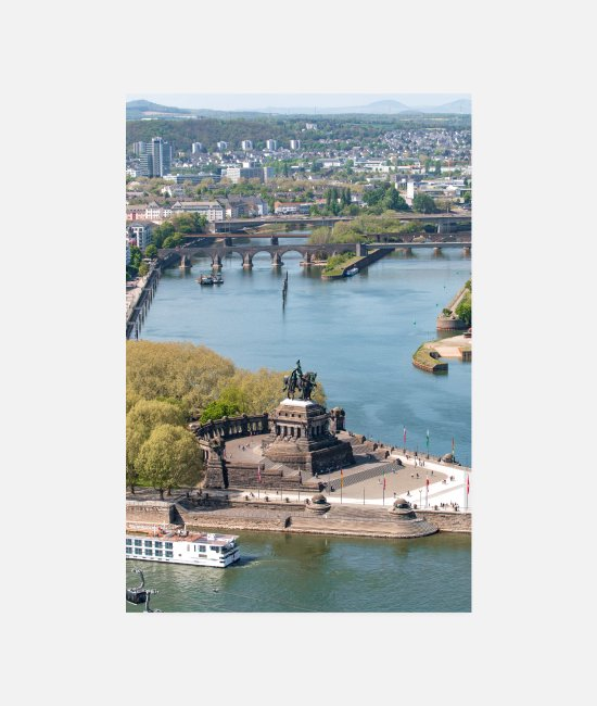 Statue Posters - Monument to Kaiser Wilhelm I at the Deutsches Eck Koblenz - Posters white