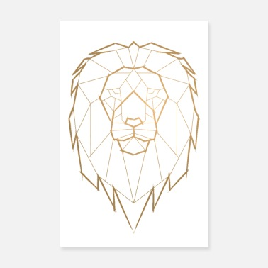 Triangle Lion King Geometric Geometry Poster - Gold - Poster