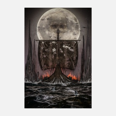 Viking dead ship and skull in the moon - Poster