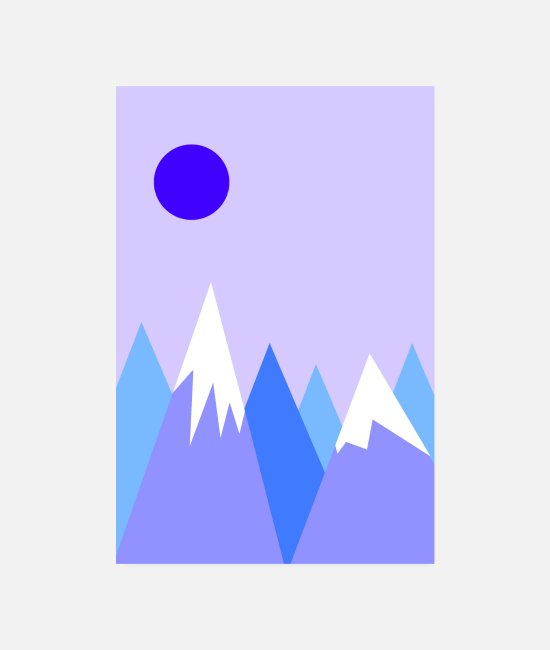 Gift Posters - Blauwe berg - Posters wit
