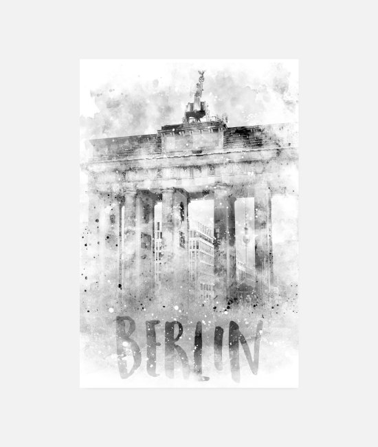 Building Posters - Monochrome art BERLIN Brandenburg Gate - Posters white