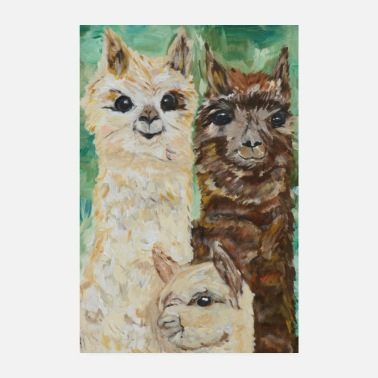 Family alpaca family color - Poster