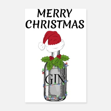 Gin And Tonic Merry Christmas festive Gin and Tonic bottle gag - Poster