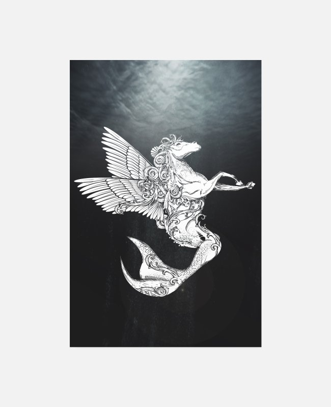 Drawing Posters - Pegasus with wings and tail of fish in the sea - Posters white