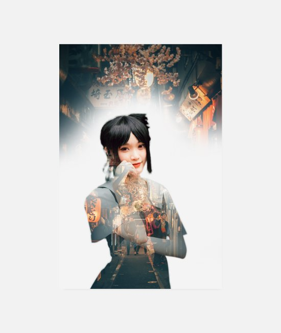 Red Posters - Tokyo Girl Double exposure poster - Posters white