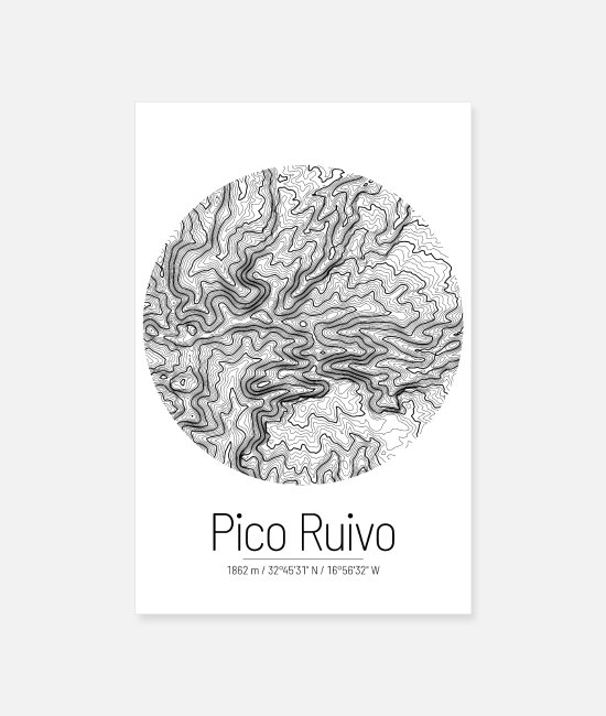Mountains Posters - Pico Ruivo | Map topography (minimal) - Posters white