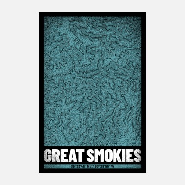 Roker Great Smoky Mountains | Kaart topografie - Poster