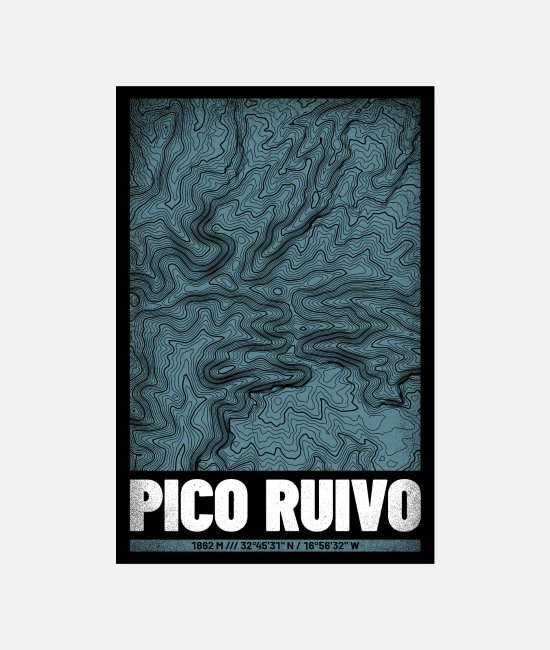 Mountains Posters - Pico Ruivo | Map topography (grunge) - Posters white