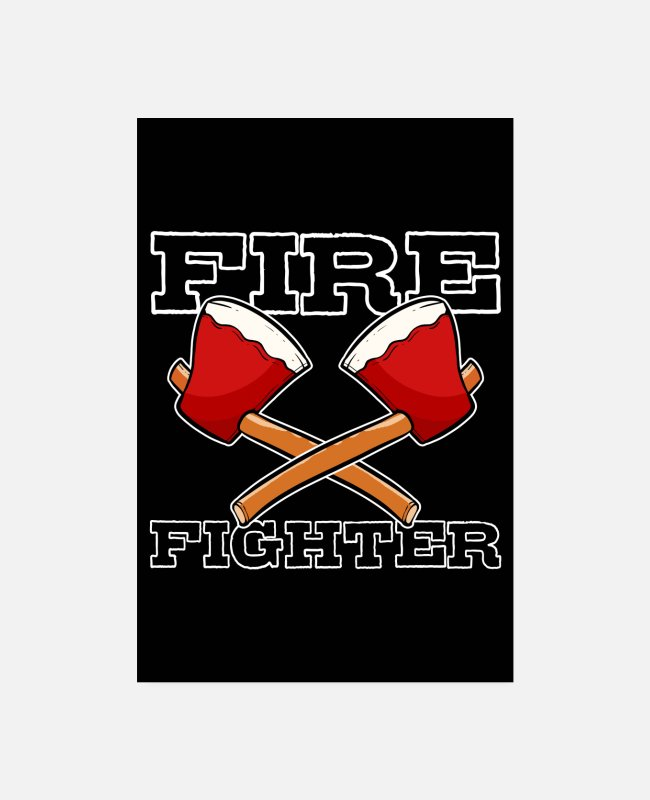 Usa Posters - American Firefighter Axe Hatchet Proud Fireman Ax - Posters white