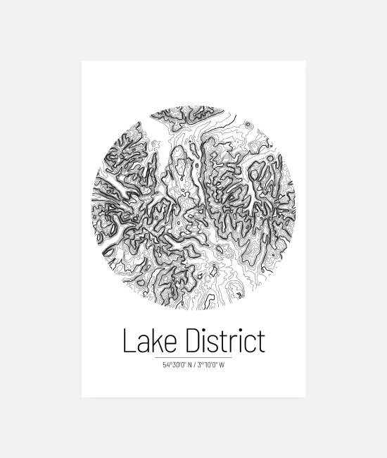 Wandern Poster - Lake District | Landkarte Topografie (Minimal) - Poster Weiß