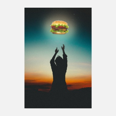 Grillwuerstchen Burger in The Sky - Poster