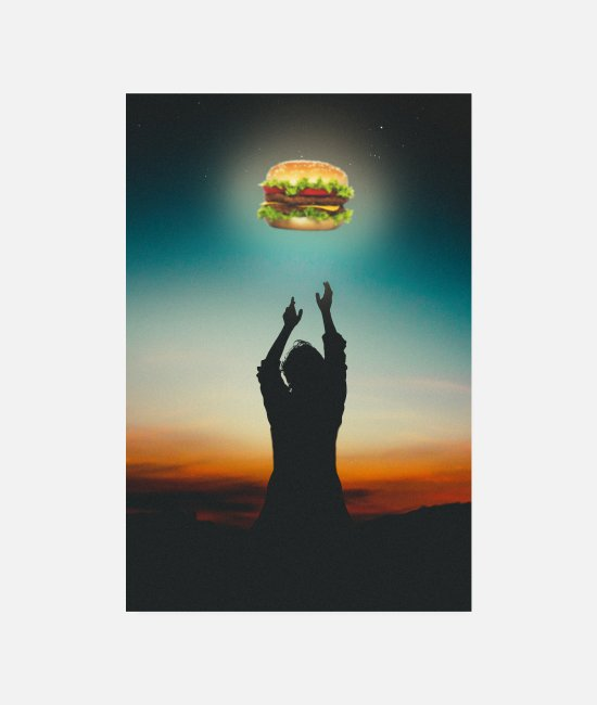 BBQ Posters - Burger in The Sky - Posters white