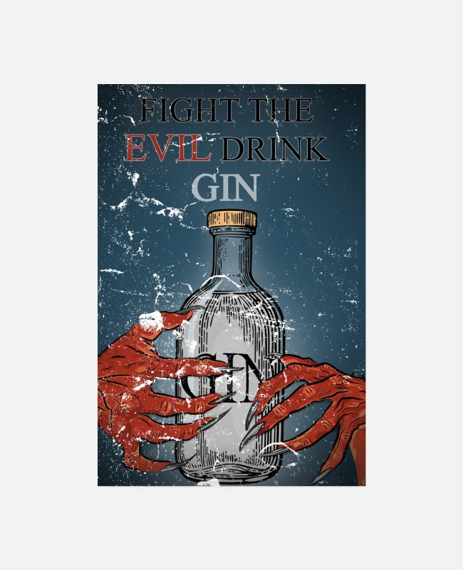 Hands Posters - Fight the EVil drink Gin & Tonic Halloween vintage - Posters white