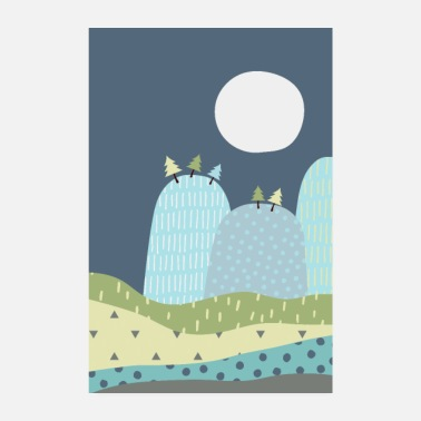 Childish Mountains and moon - children's posters - Poster