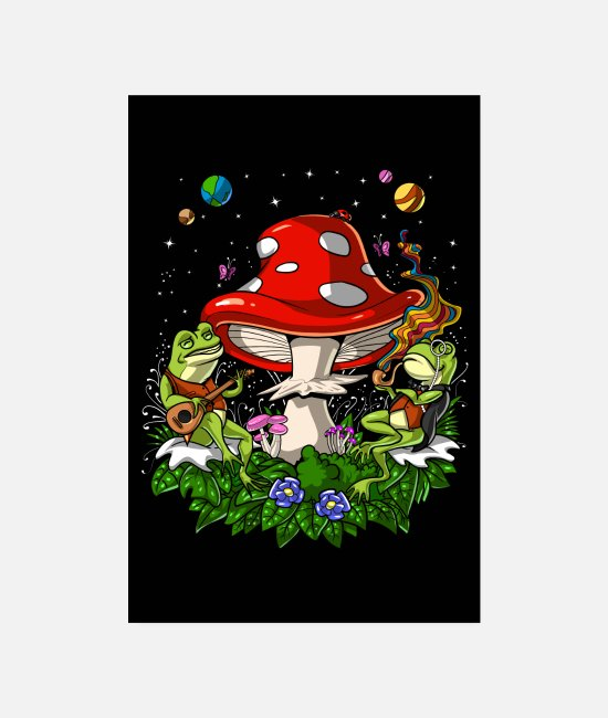 Trippy Posters - Psychedelic Frogs Party - Posters white