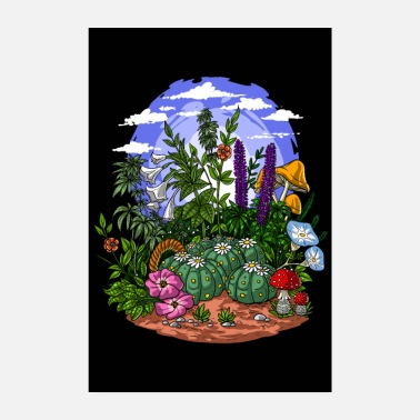 Cannabis Psychedelic Plants Garden - Poster