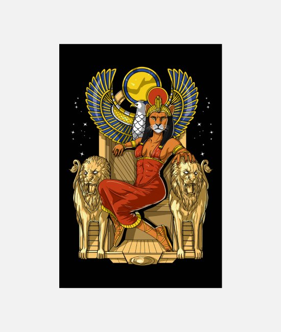 Ankh Posters - Egyptian Lioness Goddess Sekhmet - Posters white