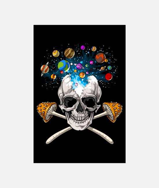 Trippy Posters - Magic Mushrooms Skull - Posters white