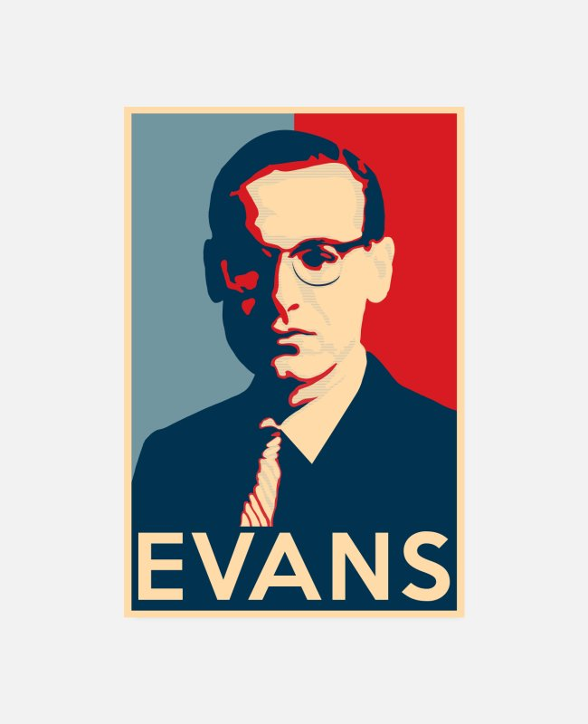 Piano Posters - Bill Evans Hope Poster - Greats of Jazz History - Posters white
