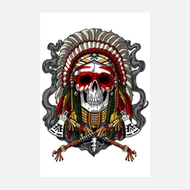 Native Native American Chief Skull - Poster