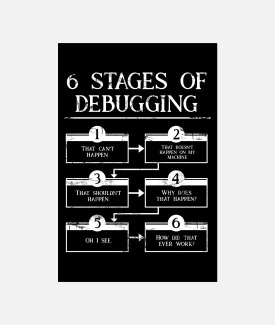 Programmemer Posters - 6 Stages Of Debugging - Posters white