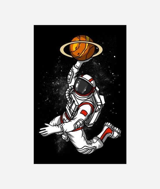Space Posters - Astronaut Basketball Player - Posters white
