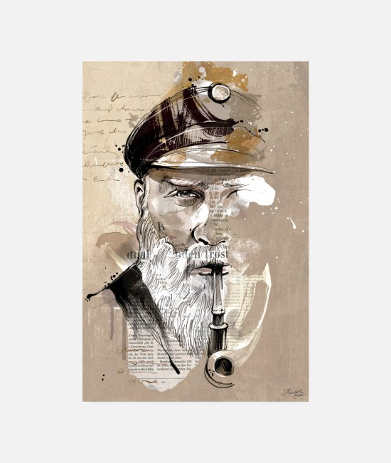 Sail Boat Posters - Old captain - Posters white