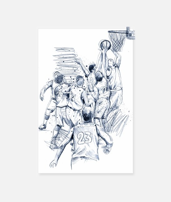 Artist Posters - Basketball game drawing - Posters white