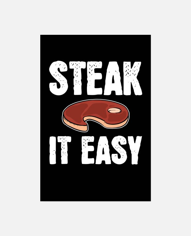BBQ Posters - Steak It Easy Grillmeister Grilling BBQ-gave - Posters hvid