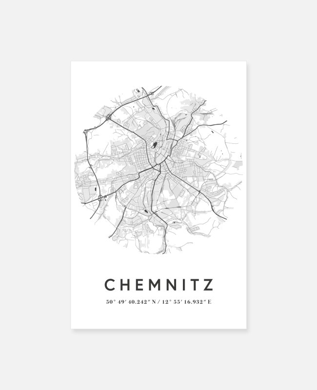 Urban Posters - Chemnitz Saxony map city map citymap map - Posters white