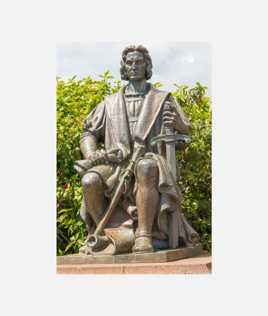 Travel Bug Posters - Funchal Statue of Christopher Columbus Madeira - Posters white