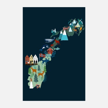 Souvenir Norway map I gift and souvenir - Poster