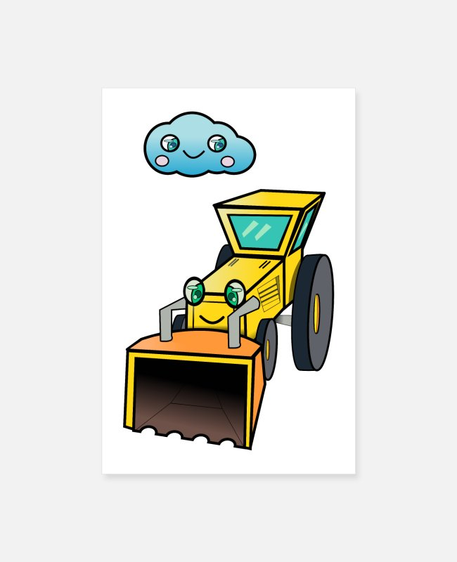Sweetheart Posters - Cute tractor - Posters white