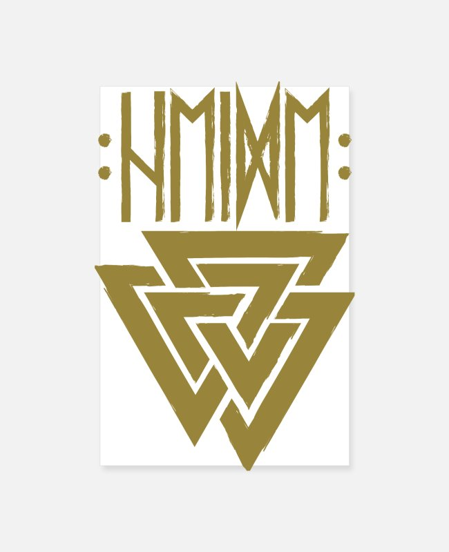 Thor Posters - Heather in runes with valknut, symbol of Odin - gold - Posters white