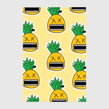Zombie Ananas Frucht Monster Emo Piercing Poster - Poster 20x30 cm
