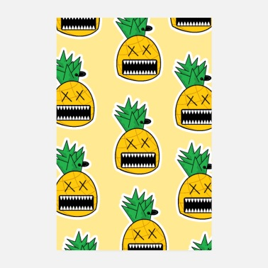 Domina Zombie Ananas Fruit Monster Emo Piercing Poster - Poster