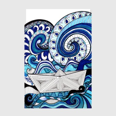 Blue Sea & Boat Poster Design - Poster 20x30 cm